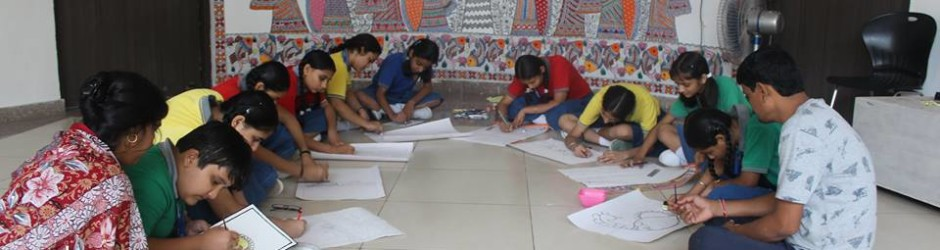 Our students learning Madhubani art from artists of Jitwarpur village of Madhubani District , Bihar, the place where Madhubani art originated